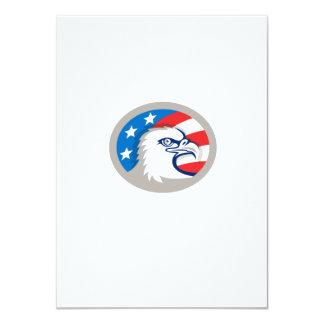 Bald Eagle Head USA Flag Oval Retro Card