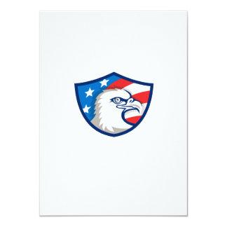 Bald Eagle Head USA Flag Shield Retro Card