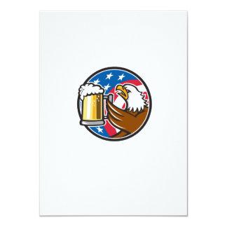 Bald Eagle Hoisting Beer Stein USA Flag Circle Ret Card