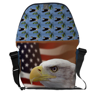 bald eagle honor troops USA American patriotic art Messenger Bags