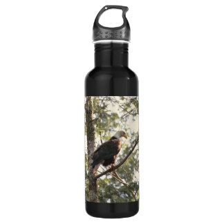 Bald Eagle in a Tree Water Bottle