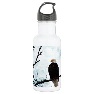 Bald Eagle in a Tree With Blue Sky and Clouds Water Bottle
