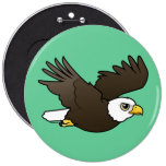 Bald Eagle in flight 6 Inch Round Button