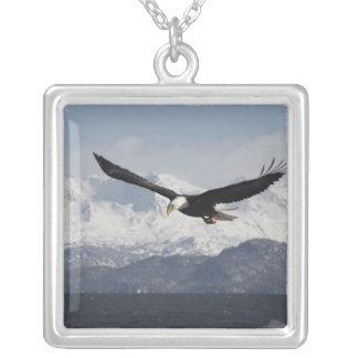 Bald Eagle in Flight, Haliaeetus leucocephalus, Square Pendant Necklace