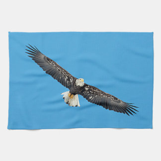 Bald Eagle in flight Kitchen Towel