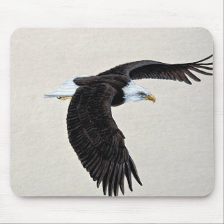 Bald eagle in flight mouse pads