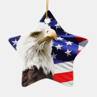Bald Eagle in Front of American Flg Ceramic Ornament