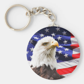 Bald Eagle in Front of American Flg Keychain