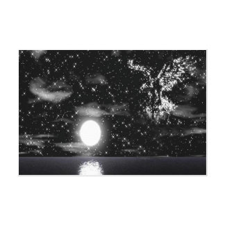 Bald Eagle In The Star Wrapped Canvas Print