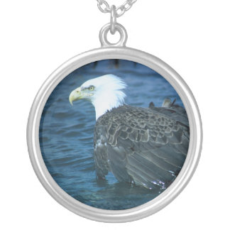 Bald Eagle in Water Round Pendant Necklace