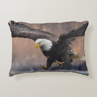 Bald Eagle landing Decorative Pillow