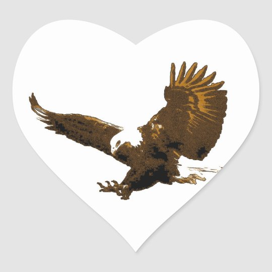 Bald Eagle Landing Heart Sticker