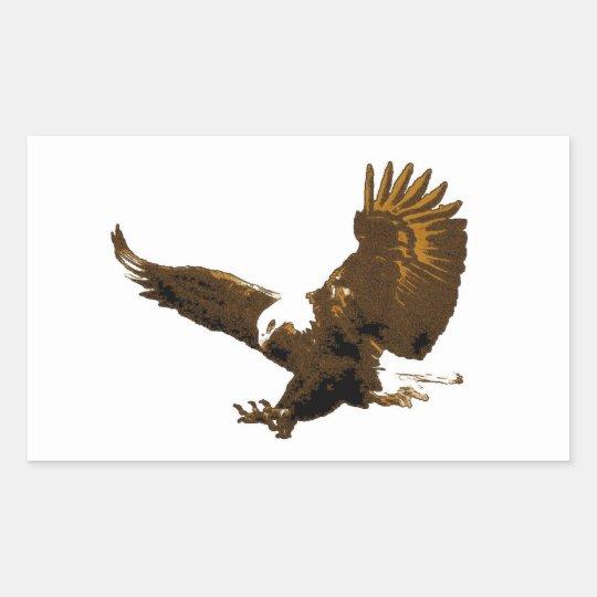 Bald Eagle Landing Rectangle Sticker