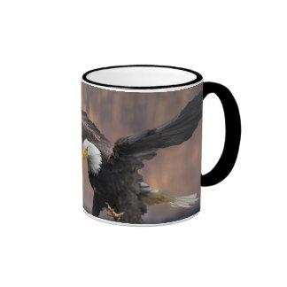 Bald Eagle landing Ringer Mug