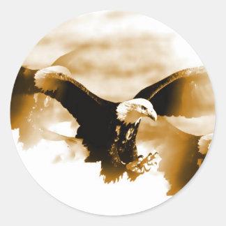 Bald Eagle Landing Round Sticker