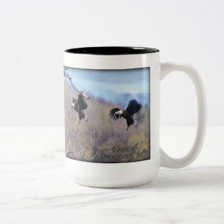 Bald Eagle landing Two-Tone Coffee Mug