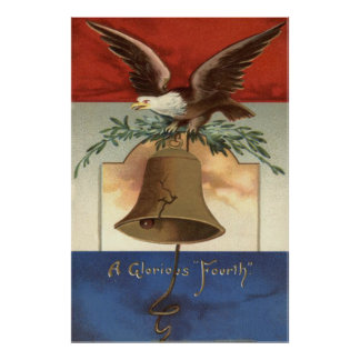 Bald Eagle Liberty Bell 4th of July Poster