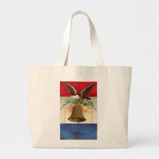 bald eagle liberty bell patriotic vintage art jumbo tote bag