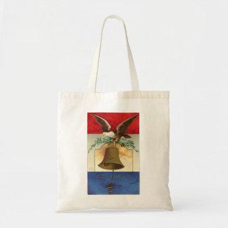 bald eagle liberty bell patriotic vintage art budget tote bag