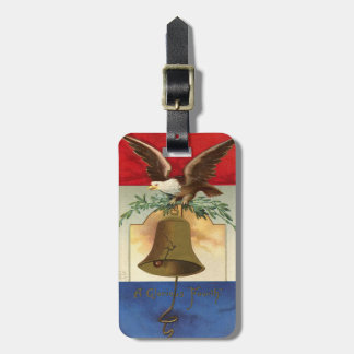 bald eagle liberty bell patriotic vintage art bag tag