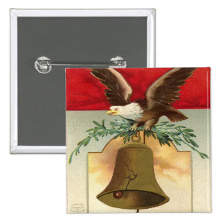bald eagle liberty bell patriotic vintage art 2 inch square button