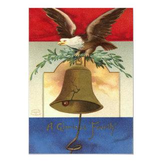 bald eagle liberty bell patriotic vintage art card