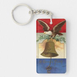 bald eagle liberty bell patriotic vintage art Double-Sided rectangular acrylic keychain