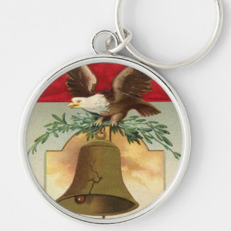 bald eagle liberty bell patriotic vintage art Silver-Colored round keychain