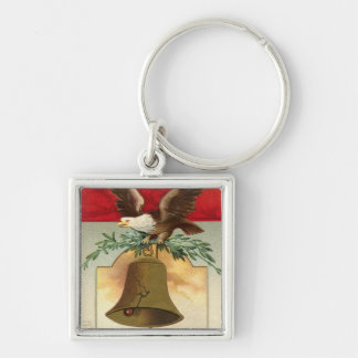 bald eagle liberty bell patriotic vintage art Silver-Colored square keychain