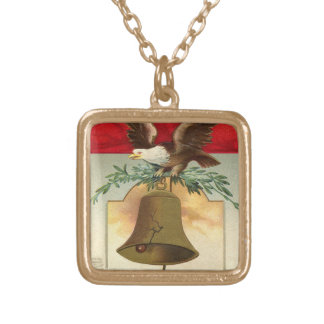 bald eagle liberty bell patriotic vintage art square pendant necklace
