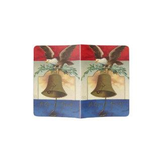 bald eagle liberty bell patriotic vintage art passport holder