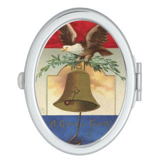 bald eagle liberty bell patriotic vintage art travel mirror