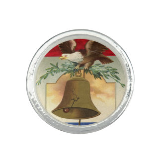 bald eagle liberty bell patriotic vintage art ring