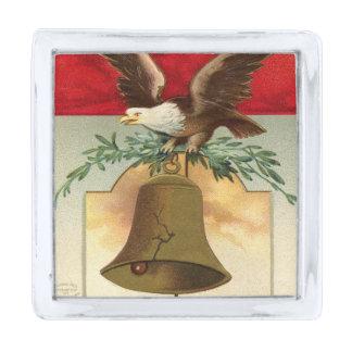 bald eagle liberty bell patriotic vintage art silver finish lapel pin