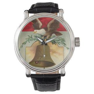 bald eagle liberty bell patriotic vintage art wristwatch