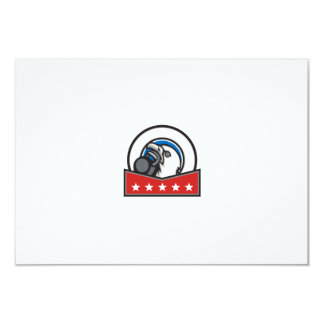 Bald Eagle Lifting Kettleball Circle Stars Retro Card