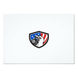 Bald Eagle Lifting Kettleball USA Flag Shield Retr Card
