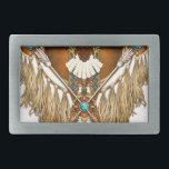 "Bald Eagle Mandala - revised Belt Buckle<br><div class=""desc"">Native American style Bald Eagle mandala with mock beadwork,  hawk feather,  leather tassels and warrior&#39;s arrows.</div>"