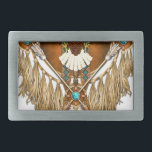 "Bald Eagle Mandala - revised Belt Buckle<br><div class=""desc"">Native American style Bald Eagle mandala with mock beadwork,  hawk feather,  leather tassels and warrior&#39;s arrows.</div>"