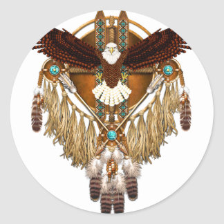 Bald Eagle Mandala - revised Classic Round Sticker