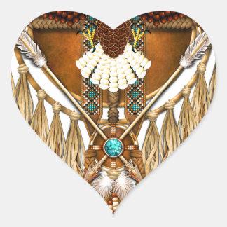 Bald Eagle Mandala - revised Heart Sticker