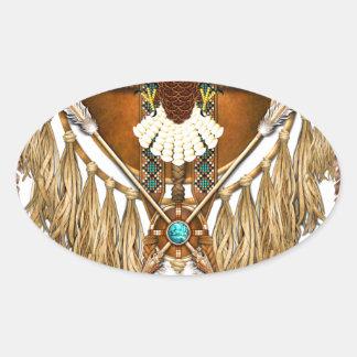 Bald Eagle Mandala - revised Oval Sticker