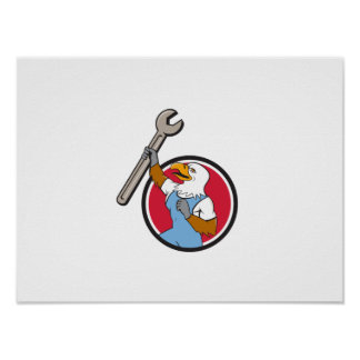 Bald Eagle Mechanic Spanner Circle Cartoon Poster