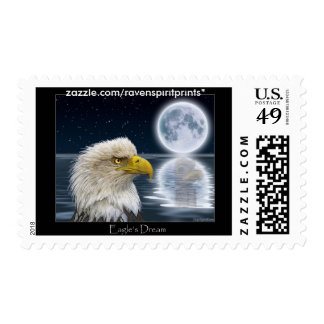 BALD EAGLE & MOON Postage Stamps
