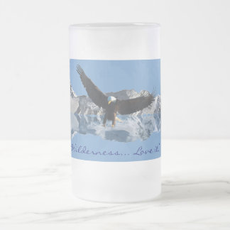Bald Eagle & Mountains Wildlife Drinking Stein 16 Oz Frosted Glass Beer Mug