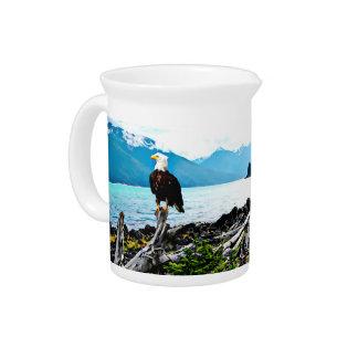 Bald Eagle On Alaska Coast Beverage Pitcher