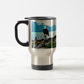 Bald Eagle On Alaska Coast Travel Mug