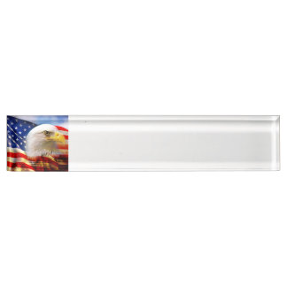 Bald Eagle on American Flag red white blue Desk Name Plate