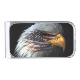 Bald Eagle on American Flag red white blue Silver Finish Money Clip