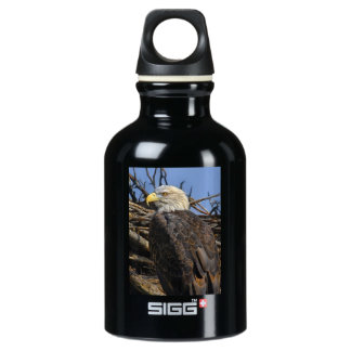 Bald Eagle on Spring Nest Water Bottle
